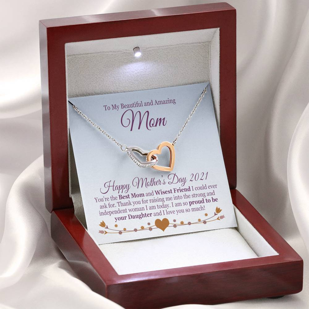 "Bella Fields - ""To My Mom"" Luxury Mother's Day Necklace and Message Card"