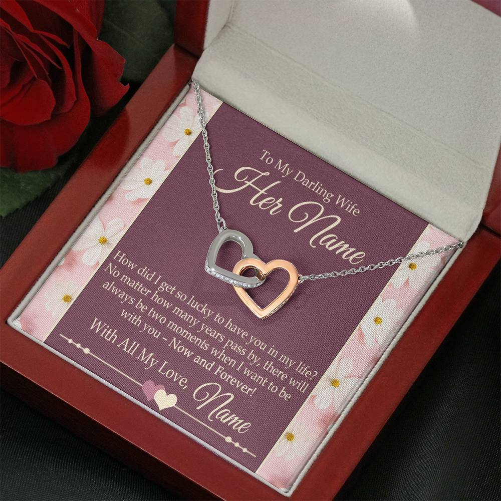 "Bella Fields - ""To My Darling Wife"" Personalized Luxury Necklace and Gift Box"