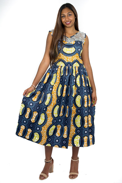 African Print Dress with Front Lace detailing