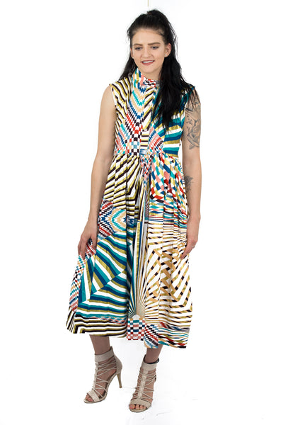 Colorful African print sleeveless maxi dress