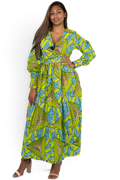 Vibrant Green African Wax Print longsleeves Maxi Dress