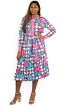 Ankara Print Long sleeves Knee length Dress