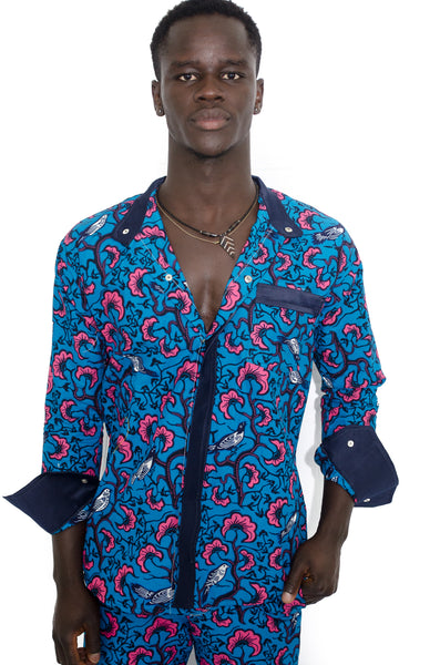 African Wax Print Pants and Shirt set for Men