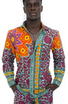 Colorful African Wax print Mens' Pants and shirt Set