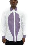 African wax print long sleeve Shirt in white and Lavender color