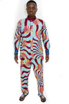 African Wax print Chinese collar shirt and pants set