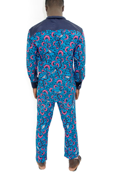 2 Piece African Wax Print Pants and Shirt set for Men