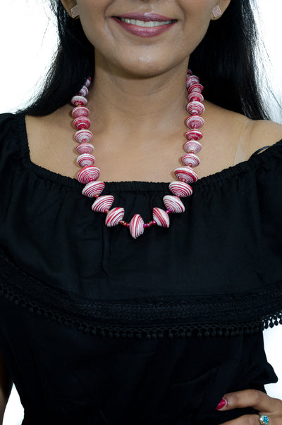 African paper bead necklace