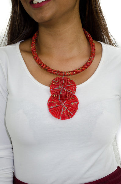 African Maasai Beaded Pendant choker Necklace