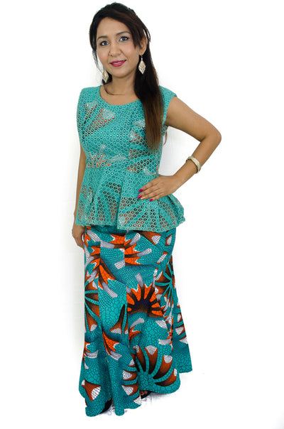 African print skirt and top set of 2