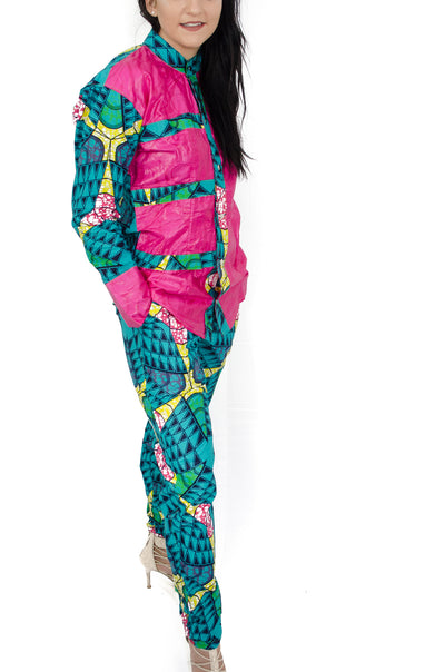 African Print Chinese Collar Blouse and pants Set