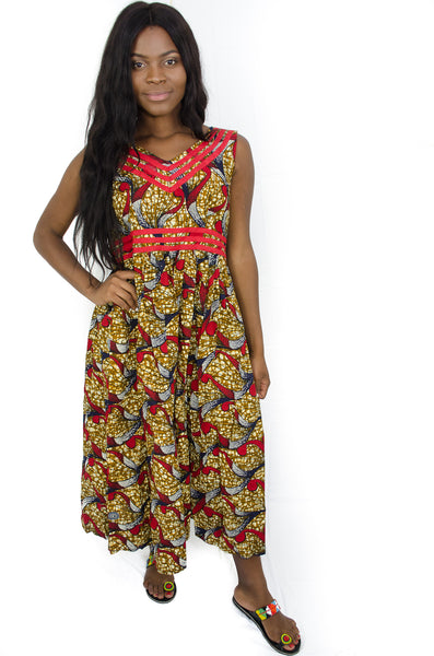 African print Sleeveless Maxi Dress