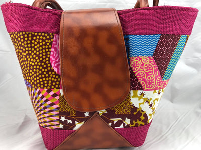 Handcrafted African Print Leather Handbag