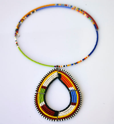African Maasai Pendant Beaded Necklace
