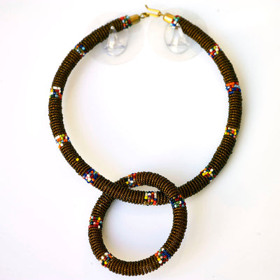 African Beaded Jewelry Set of Necklace and Bracelet
