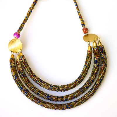 3 Tier African Maasai Beaded Necklace