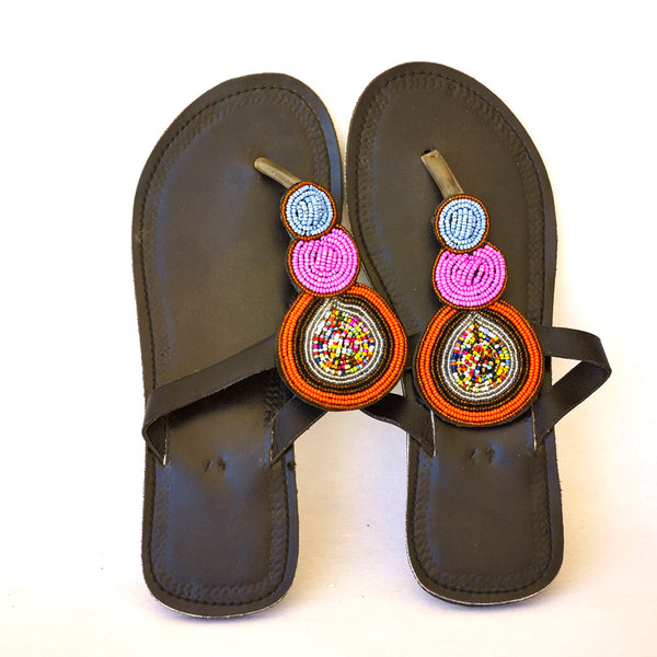 Masai Leather African Beads Sandals for Women