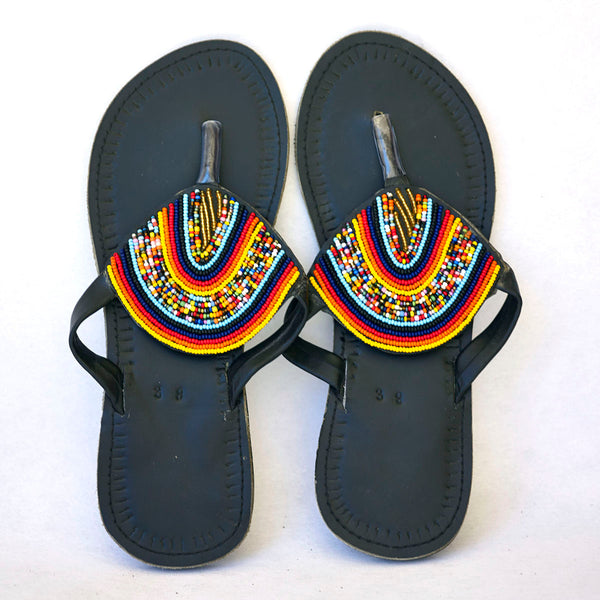 7ca14d3ac7fb Maasai Leather African beads sandals for women - Kilimanjaro Krafts