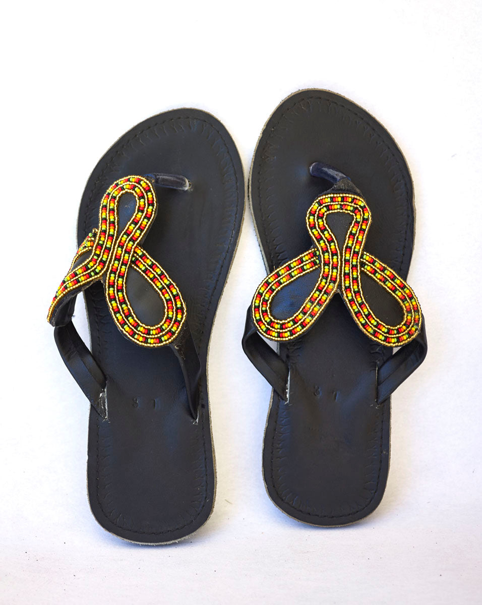 ec4063963db2c Maasai Leather African Beads Sandals for Women