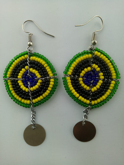 African Beaded Chandelier Earrings
