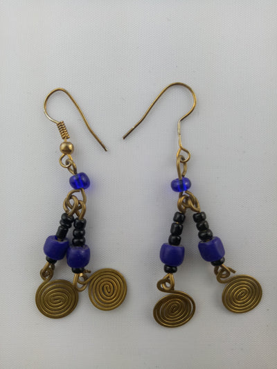 Gold Tone African Beaded Earrings