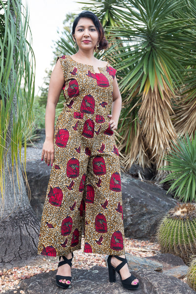 African print Sleeveless Jumpsuit