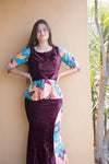 African wax print blouse and mermaid skirt set