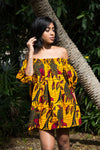 African print Ankara off shoulder knee length dress