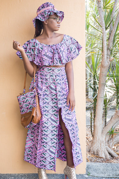 African print crop top and high low skirt