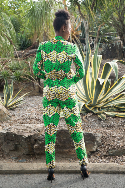yellow and green vibrant prints jacket and pants set