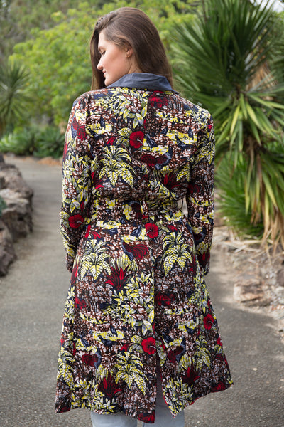 African print Trench coat