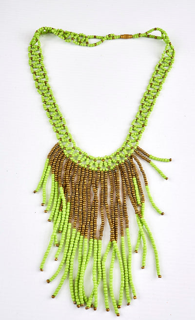 African Beaded long Cascading Necklace