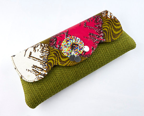 Colorful African print Purse made of hemp thread