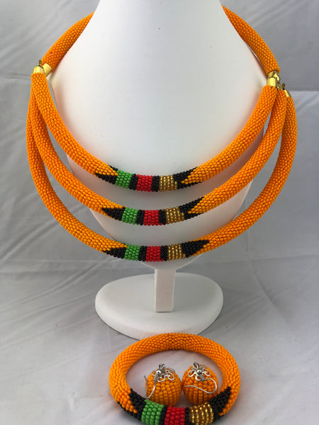 African Jewelry Set of Multi strand (Necklace, Earrings and Bracelet)