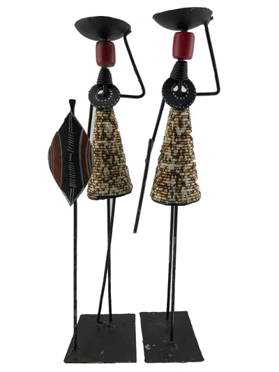 Pair of African Hand Carved Metal Candlestick