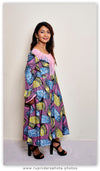 Long Sleeves African Wax Print Maxi Dress