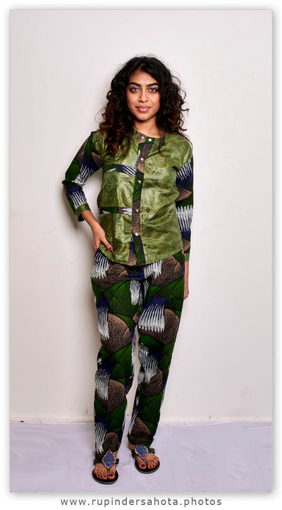 African print blouse and pants set