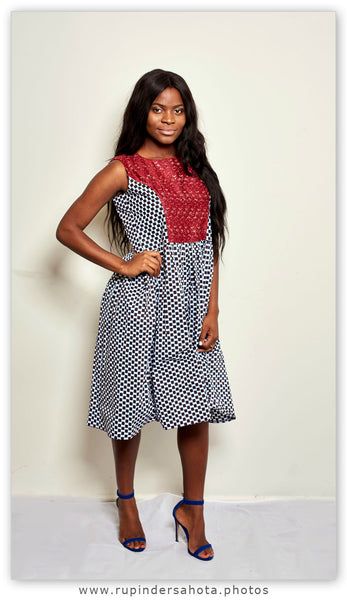 African wax print Gingham dress