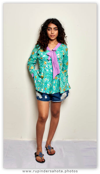 African print long sleeves ladies top