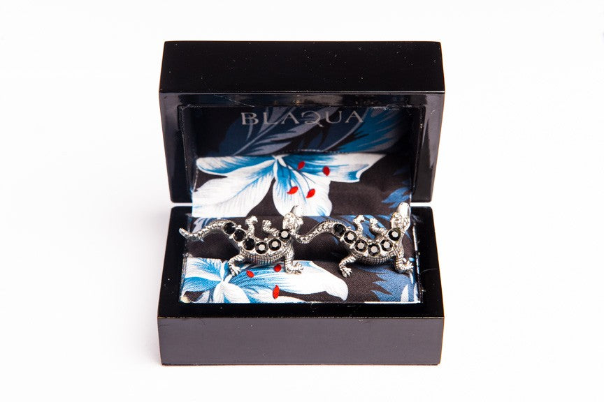 Jet Crystal Lizards Cufflinks