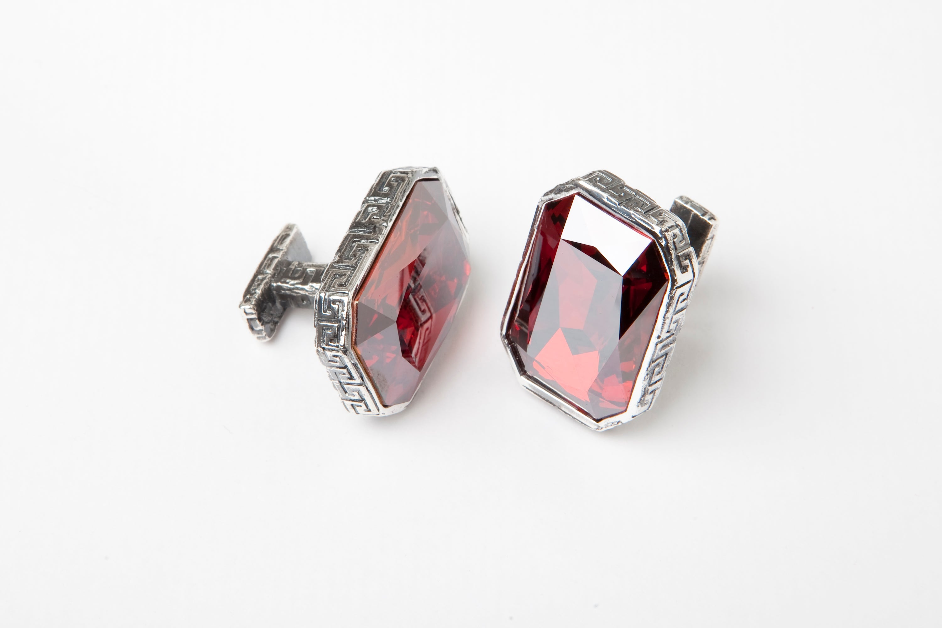 Red Crystal Greek Keys Cufflinks