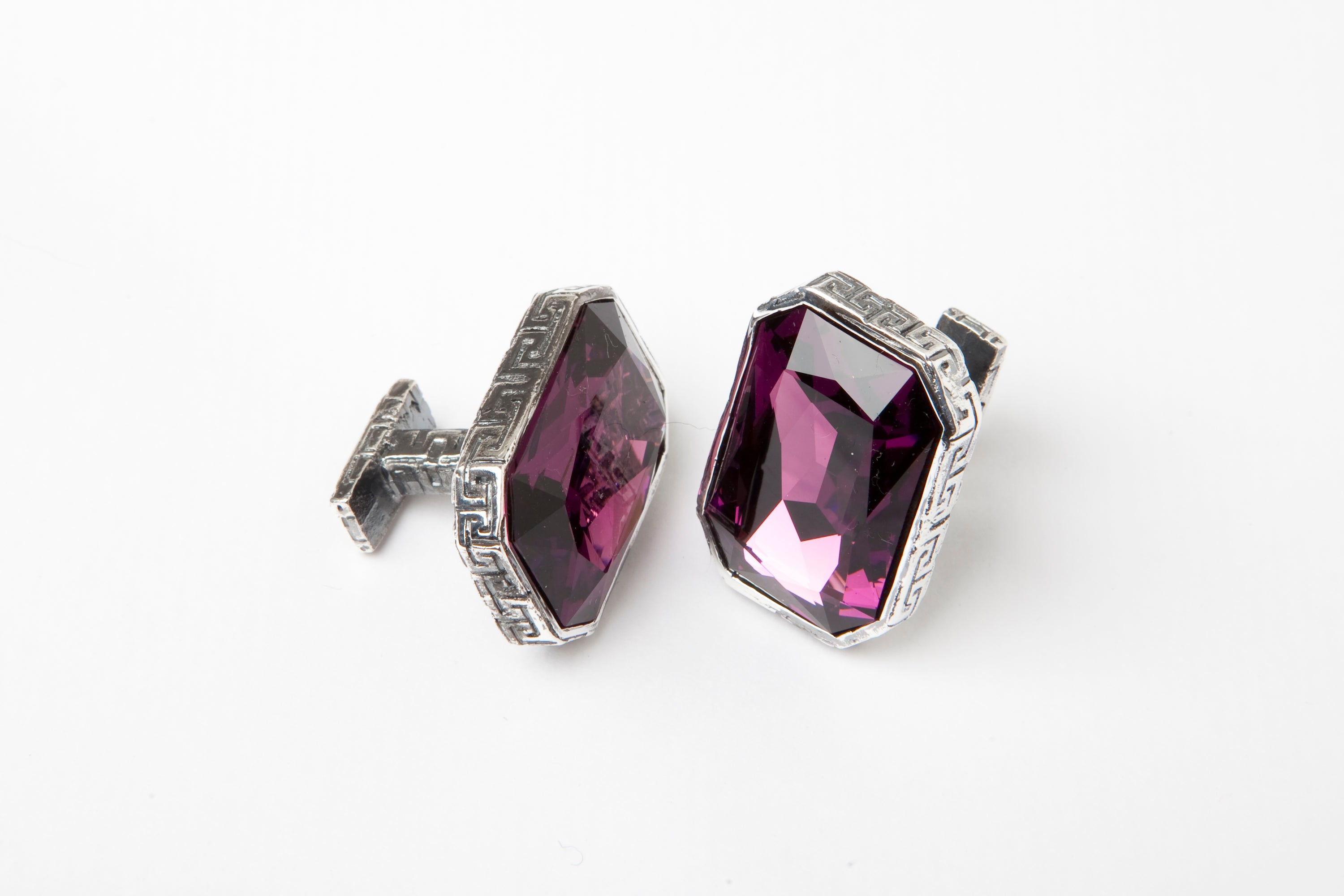 Amethyst Crystal Greek Keys Cufflinks