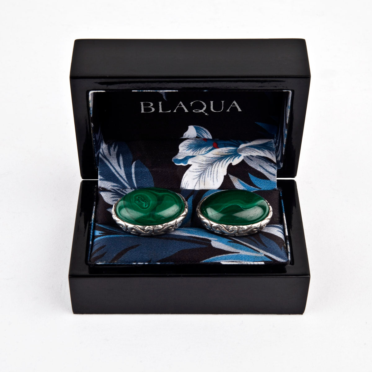 Sterling Silver Baroque Oval Cufflinks set with Malachite