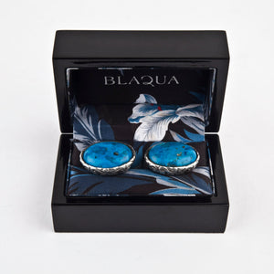 Sterling Silver Baroque Oval Cufflinks set with Turquoise