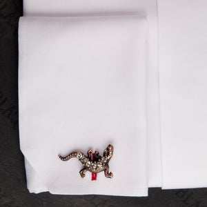 Antique Copper Clear Crystal Lizards Cufflinks