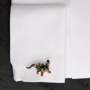 Antique Copper Green Crystal Lizards Cufflinks