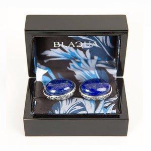 Sterling Silver Baroque Oval Cufflinks set with Lapis Lazuli