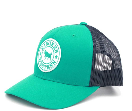 cb45bcb9 Green & Navy Signature Bull Trucker with Green & White Patch