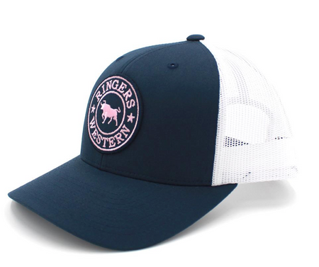c1ec060e Navy & White Signature Bull Trucker Hat with Navy & Pink Patch