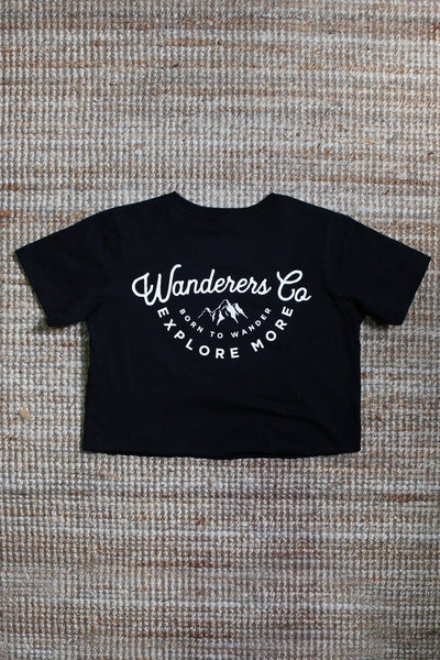 WANDERERS CO. - Explore More Crop Tee - Black